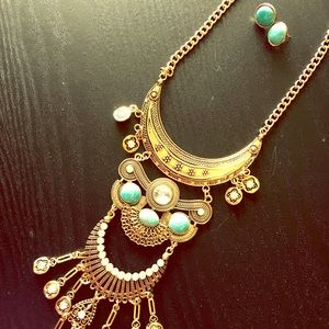 Jewelry - Statement Gold and Turquoise Necklace and Earring